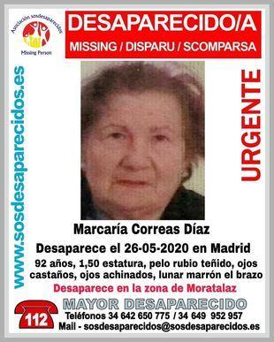 Macarena Correas Díaz, la mujer de 92 años que desapareció al regresar de la peluquería.