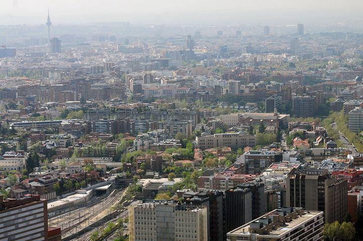 Vista de Madrid desde Torrespacio p44 con bruma y algo de contaminación
