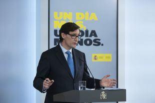 El ministro de Sanidad, Salvador Illa, en rueda de prensa en el Palacio de la Moncloa.