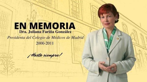 Cartel del Colegio de Médicos de Madrid en homenaje a la doctora Juliana Fariña González, que fue la primera mujer en dirigir la institución colegial.