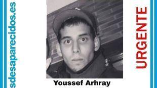 Cartel con el que se denunció la desaparición de Youssef en agosto del año pasado