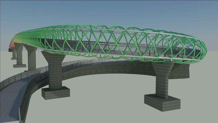 Infografía de la nueva pasarela peatonal que unirá los barrios madrileños de San Cristonal y Butarque