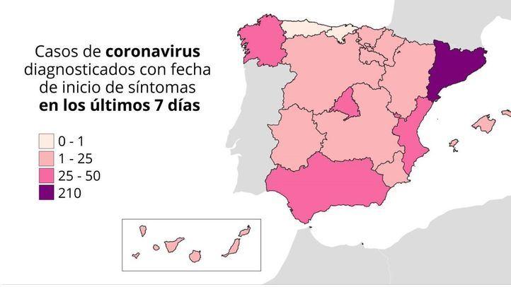 Mapa de los rebrotes: 15 Comunidades afectadas y varias comarcas confinadas