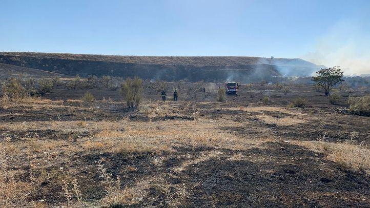 Incendio en la Cañada Real Galiana