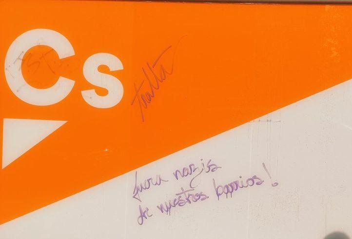 La sede de Ciudadanos en Leganés amanece vandalizada de nuevo: 'Fuera fascistas de nuestros barrios'