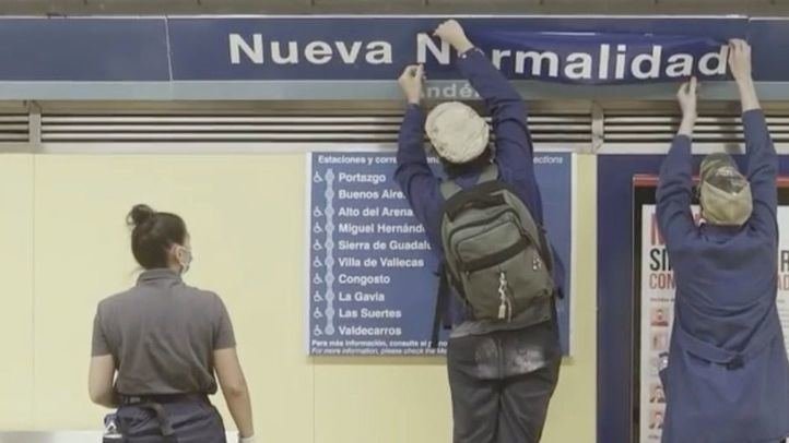 Redretro 'rebautiza' la estación de Metro de Nueva Numancia como 'Nueva Normalidad'