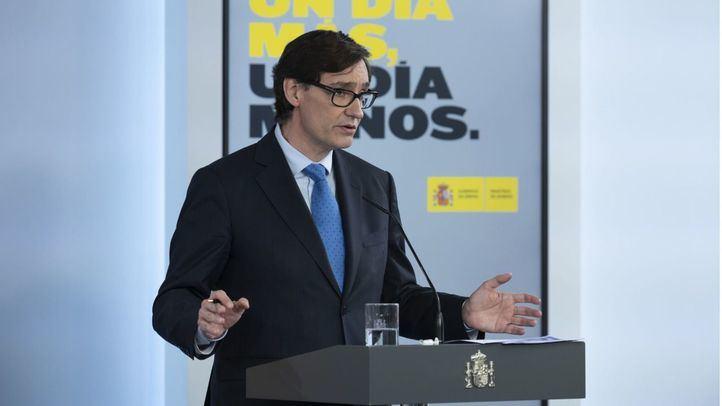 El ministro de Sanidad, Salvador Illa, en rueda de prensa en el Palacio de la Moncloa