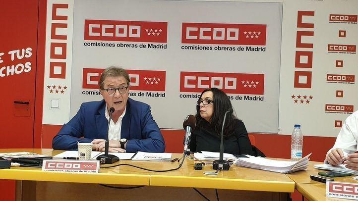 El secretario general de CCOO Madrid, Jaime Cedrún, y la responsable de Educación, Isabel Galvín Autor: Comisiones Obreras Madrid