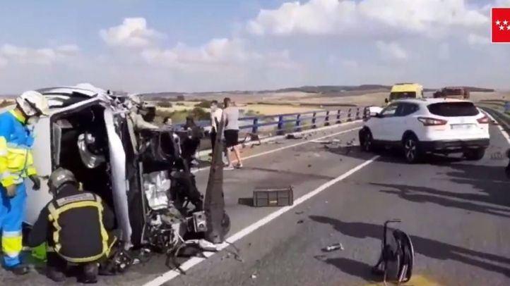 Cuatro heridos, uno muy grave, en un accidente múltiple en la M-301 en Getafe