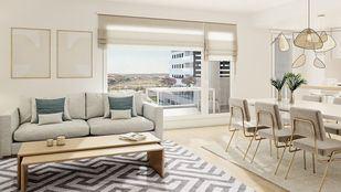 Salón con un gran ventanal de la promoción Mendoza de AEDAS Homes en Colmenar Viejo