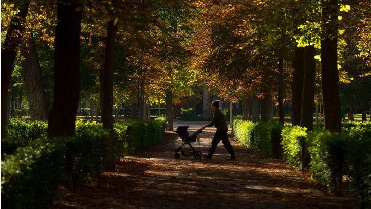 Estampa otoñal en el parque de El Retiro.