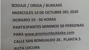 Anuncio del rodaje de un bukake en Madrid este pasado miércoles