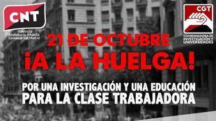 Cartel de la convocatoria de huelga para este miércoles