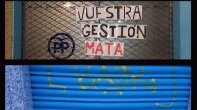 Las sedes del PP de Moratalaz y Barajas amanecen pintadas