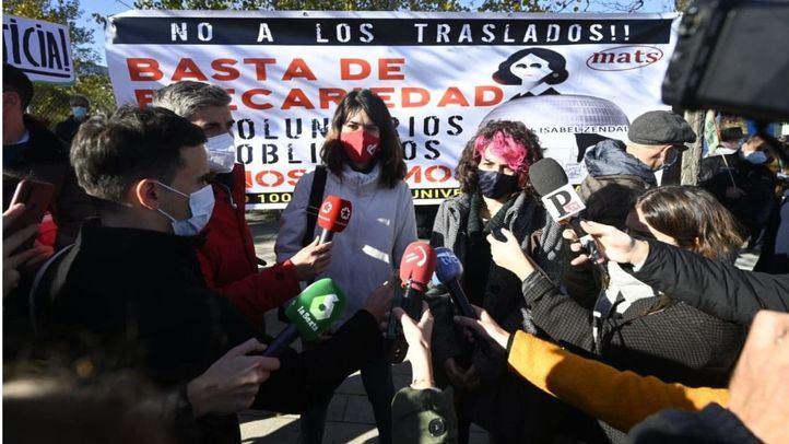 Isa Serra, portavoz de Unidas Podemos, en la manifestación contra el Hospital Isabel Zendal