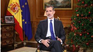 Felipe VI en un momento del tradicional mensaje de Navidad