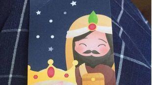 Marcapáginas con el rey Baltasar blanco