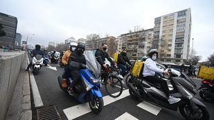 Protesta de repartidores ante la aprobación de la ley 'rider'
