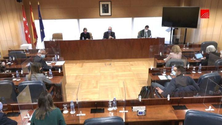 Salón del Caserón de Buen Retiro de la Asamblea de Madrid donde se celebra la comisión de Residencias y Covid-19