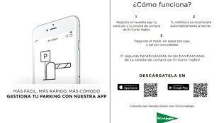 El Corte Inglés integra en su app el pago del parking sin pasar por el cajero