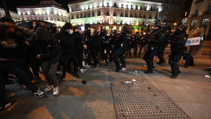 Manifestación contra el encarcelamiento de Hasel, en la Puerta del Sol