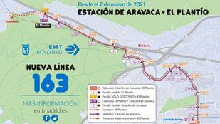 Aravaca y El Plantío se comunicarán en media hora con la nueva línea de EMT 163