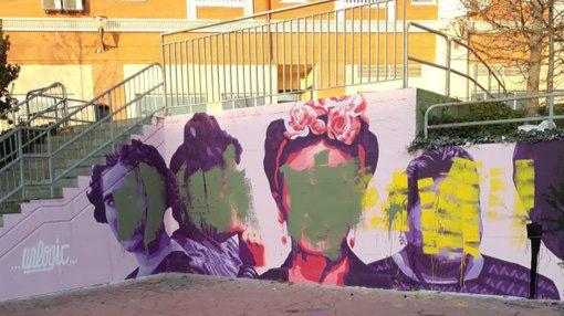Amanece vandalizada la réplica del mural feminista de Ciudad Lineal en Getafe