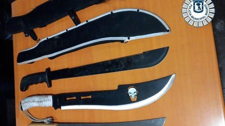 Detenidos ocho pandilleros y requisados tres machetes y un cuchillo jamonero