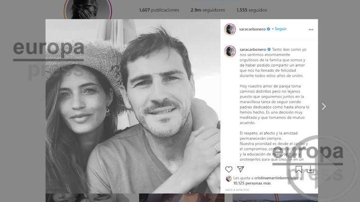 Casillas y Sara Carbonero confirman su separación con un comunicado