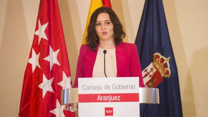 Isabel Díaz Ayuso en la rueda de prensa tras la reunión del Consejo en Aranjuez