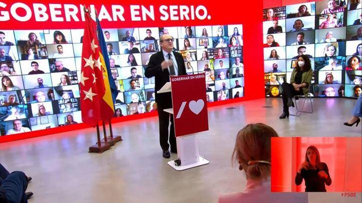 Ángel Gabilondo, candidato del PSOE a la presidencia de la Comunidad de Madrid, durante la presentación de su lista electoral