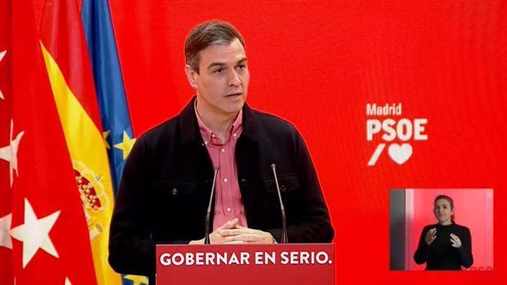 Pedro Sánchez, secretario general del PSOE, durante un acto de precampaña del PSM