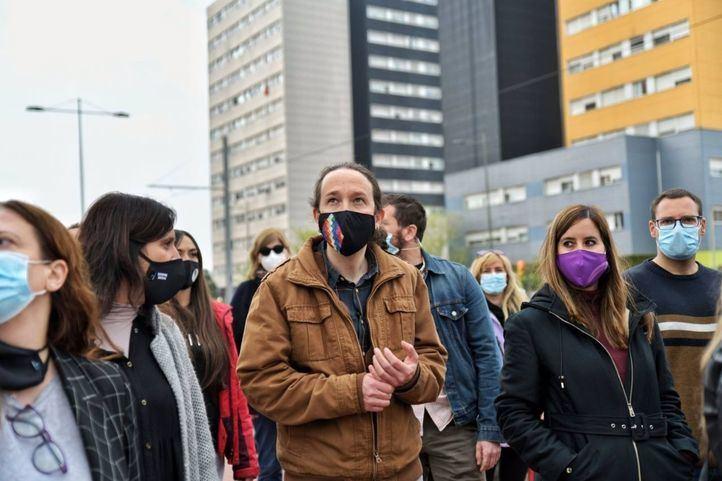 El candidato de Unidas Podemos, Pablo Iglesias, en Parla