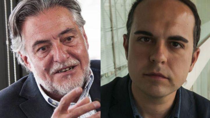 Pepu Hernández, portavoz del PSOE y José Manuel Calvo, concejal de Más Madrid en el Ayuntamiento de Madrid, esta tarde en Com.Permiso