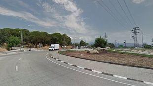 Rotonda en la M-600 a la altura del Hospital de El Escorial