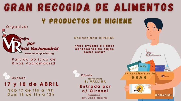 Vecinos por Rivas-Vaciamadrid organiza una recogida de alimentos y productos de higiene