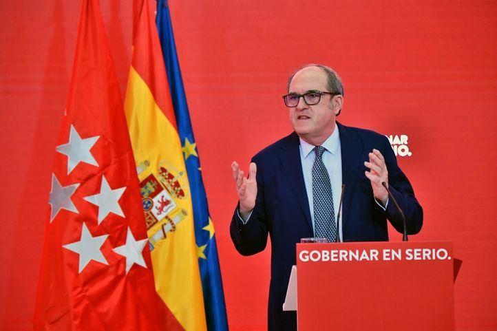 Ángel Gabilondo, candidato del PSOE a la presidencia de la Comunidad de Madrid, durante un acto de precampaña