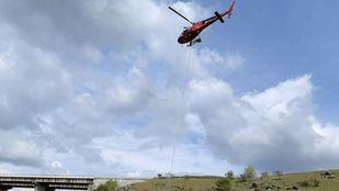 Un helicóptero del GERA rescata una vaca que cayó por un terraplén en El Molar