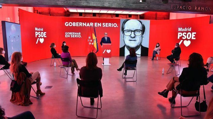 Ángel Gabilondo, candidato del PSOE a la presidencia de la Comunidad de Madrid, en un acto de precampaña en la sede de Ferraz