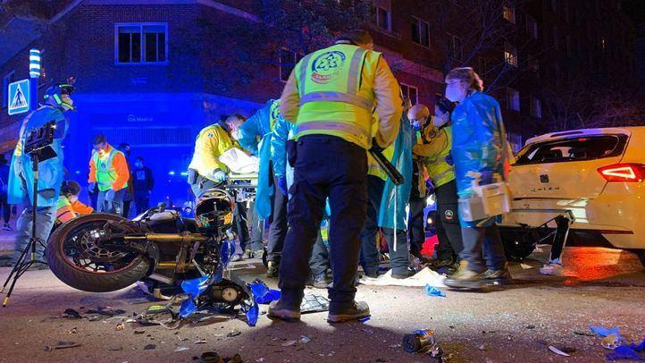 Un motorista herido grave en un accidente en Chamberí