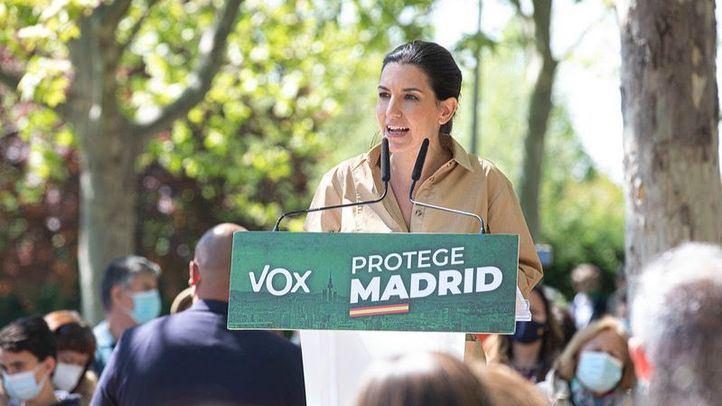 Rocio Monasterio, candidata de Vox a la presidencia de la Comunidad de Madrid, durante un acto de campaña en Boadilla del Monte