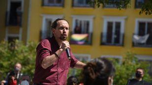 Pablo Iglesias, candidato de Unidas Podemos a la presidencia de la Comunidad de Madrid, durante un acto de campaña en Lavapiés