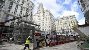 En marcha el montaje del icónico templete de Palacios: la estación de Gran Vía reabre en julio