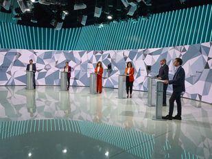 Los seis candidatos en el debate en Telemadrid