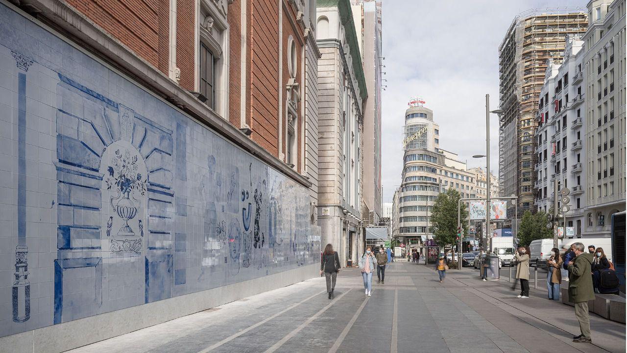 Un alegoría sobre la cultura y el medio ambiente protagoniza el mural de la  fachada del Palacio de la Música | Madridiario