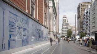 Una alegoría sobre la cultura y el medio ambiente protagoniza el mural de la fachada del Palacio de la Música