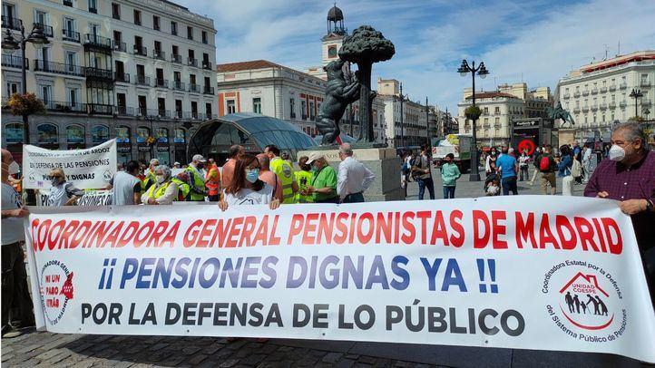 Manifestación en Madrid contra la privatización del sistema público de pensiones