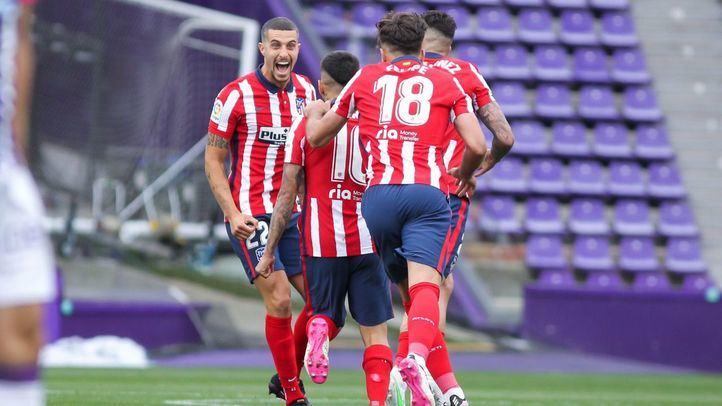 Ángel Correa, jugador del Atlético de Madrid, durante uno d los goles contra el Valladolid