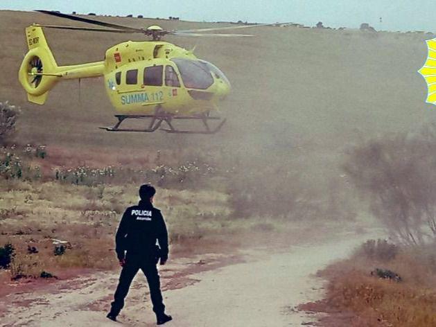 Rescate de un ciclista en Alcorcón