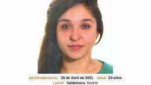 Una joven de 23 años, desaparecida desde hace un mes en Valdemoro